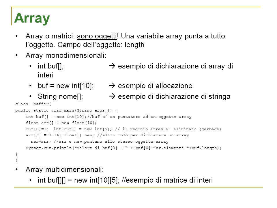 Array Array o matrici: sono oggetti! Una variabile array punta a tutto loggetto. Campo delloggetto: length Array monodimensionali: int buf[]; esempio
