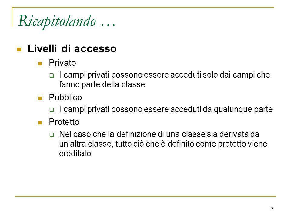 3 Livelli di accesso Privato I campi privati possono essere acceduti solo dai campi che fanno parte della classe Pubblico I campi privati possono esse
