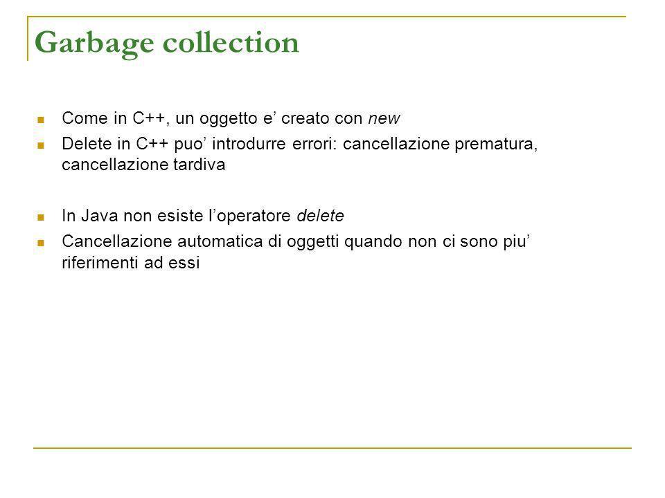 Garbage collection Come in C++, un oggetto e creato con new Delete in C++ puo introdurre errori: cancellazione prematura, cancellazione tardiva In Jav