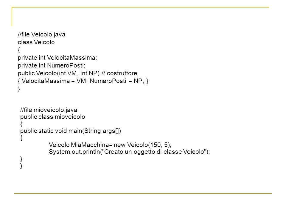 //file Veicolo.java class Veicolo { private int VelocitaMassima; private int NumeroPosti; public Veicolo(int VM, int NP) // costruttore { VelocitaMass