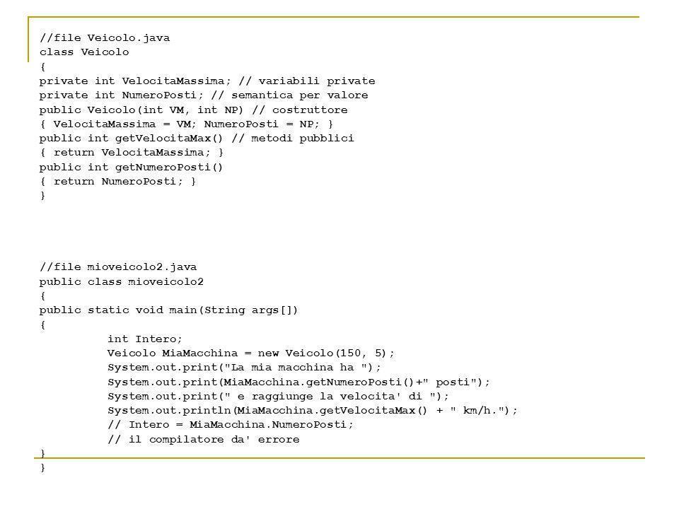 //file Veicolo.java class Veicolo { private int VelocitaMassima; // variabili private private int NumeroPosti; // semantica per valore public Veicolo(