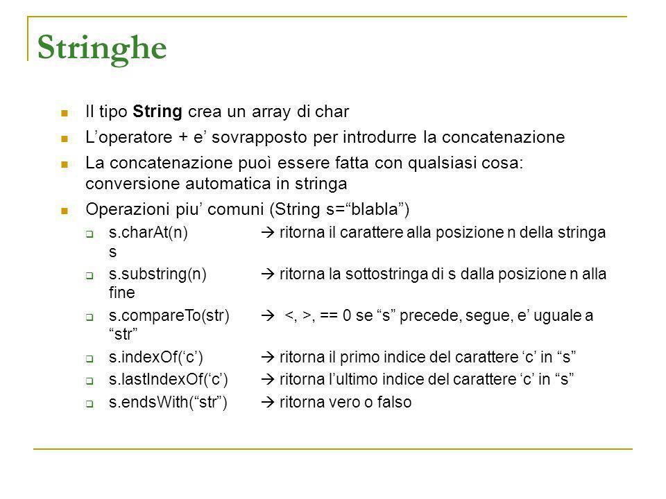 Stringhe Il tipo String crea un array di char Loperatore + e sovrapposto per introdurre la concatenazione La concatenazione puoì essere fatta con qual