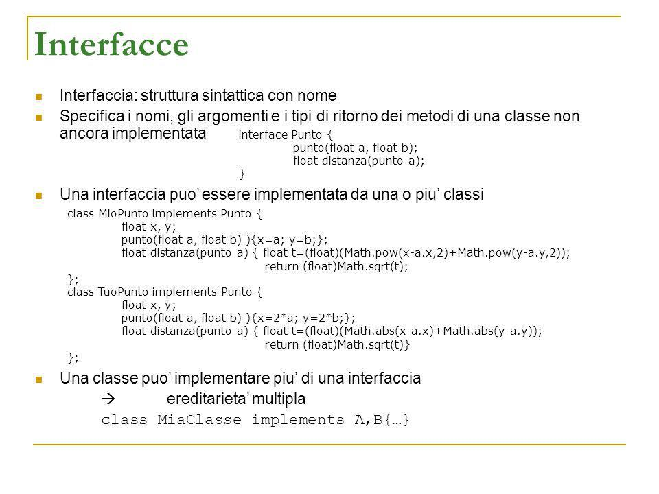 Interfacce Interfaccia: struttura sintattica con nome Specifica i nomi, gli argomenti e i tipi di ritorno dei metodi di una classe non ancora implementata Una interfaccia puo essere implementata da una o piu classi Una classe puo implementare piu di una interfaccia ereditarieta multipla class MiaClasse implements A,B{…} interface Punto { punto(float a, float b); float distanza(punto a); } class MioPunto implements Punto { float x, y; punto(float a, float b) ){x=a; y=b;}; float distanza(punto a) { float t=(float)(Math.pow(x-a.x,2)+Math.pow(y-a.y,2)); return (float)Math.sqrt(t); }; class TuoPunto implements Punto { float x, y; punto(float a, float b) ){x=2*a; y=2*b;}; float distanza(punto a) { float t=(float)(Math.abs(x-a.x)+Math.abs(y-a.y)); return (float)Math.sqrt(t)} };