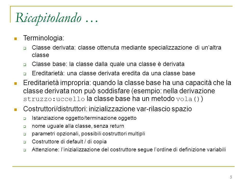 5 Terminologia: Classe derivata: classe ottenuta mediante specializzazione di unaltra classe Classe base: la classe dalla quale una classe è derivata