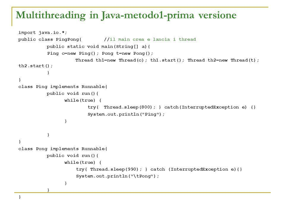 Multithreading in Java-metodo1-prima versione import java.io.*; public class PingPong{//il main crea e lancia i thread public static void main(String[] a){ Ping c=new Ping(); Pong t=new Pong(); Thread th1=new Thread(c); th1.start(); Thread th2=new Thread(t); th2.start(); } class Ping implements Runnable{ public void run(){ while(true) { try{Thread.sleep(800); } catch(InterruptedException e) {} System.out.println( Ping ); } } class Pong implements Runnable{ public void run(){ while(true) { try{ Thread.sleep(990); } catch (InterruptedException e){} System.out.println( \tPong ); }