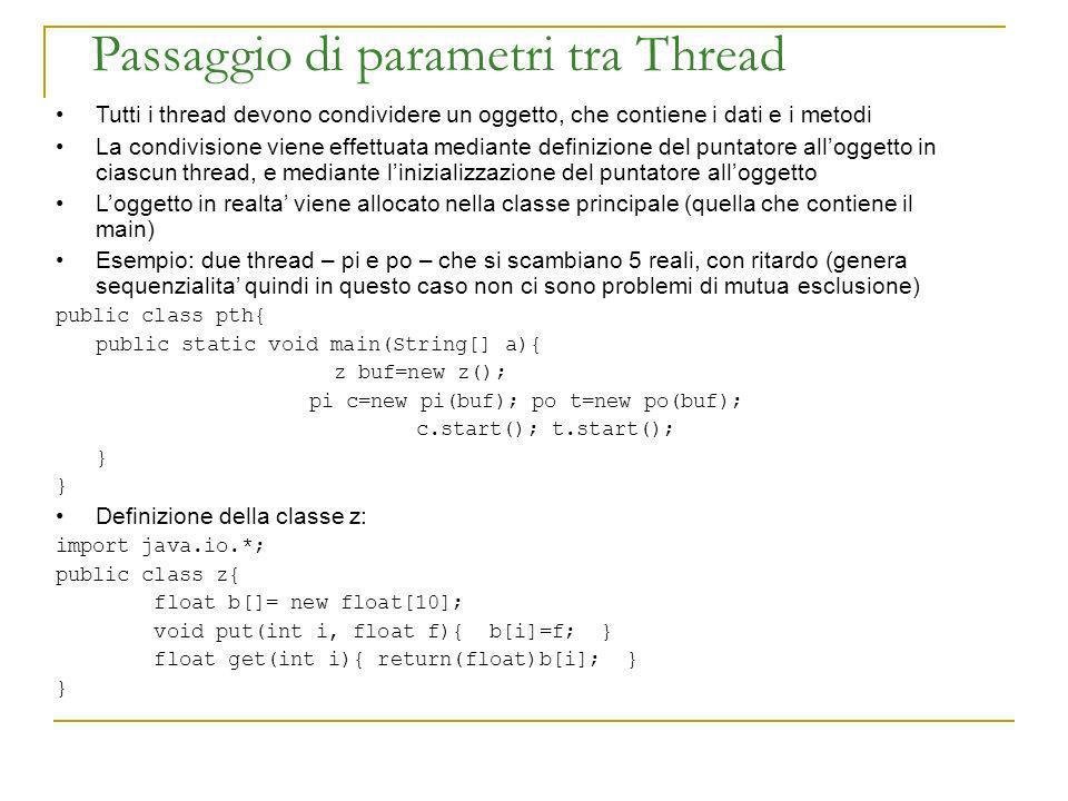Passaggio di parametri tra Thread Tutti i thread devono condividere un oggetto, che contiene i dati e i metodi La condivisione viene effettuata median