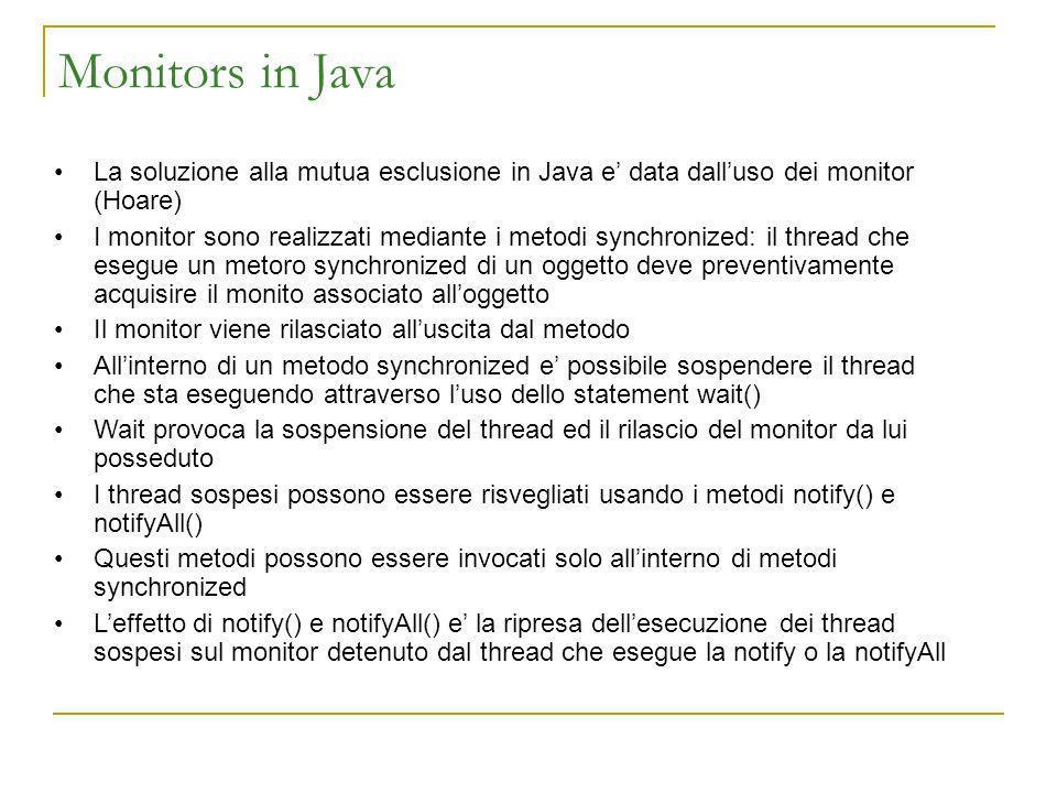 Monitors in Java La soluzione alla mutua esclusione in Java e data dalluso dei monitor (Hoare) I monitor sono realizzati mediante i metodi synchronize