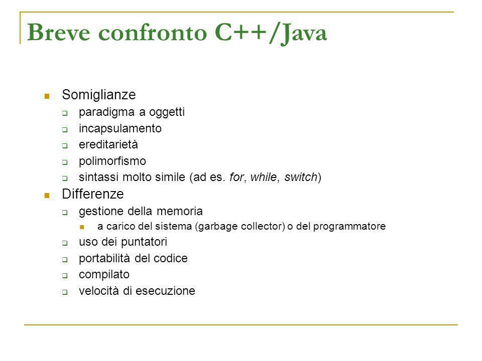 Breve confronto C++/Java Somiglianze paradigma a oggetti incapsulamento ereditarietà polimorfismo sintassi molto simile (ad es. for, while, switch) Di