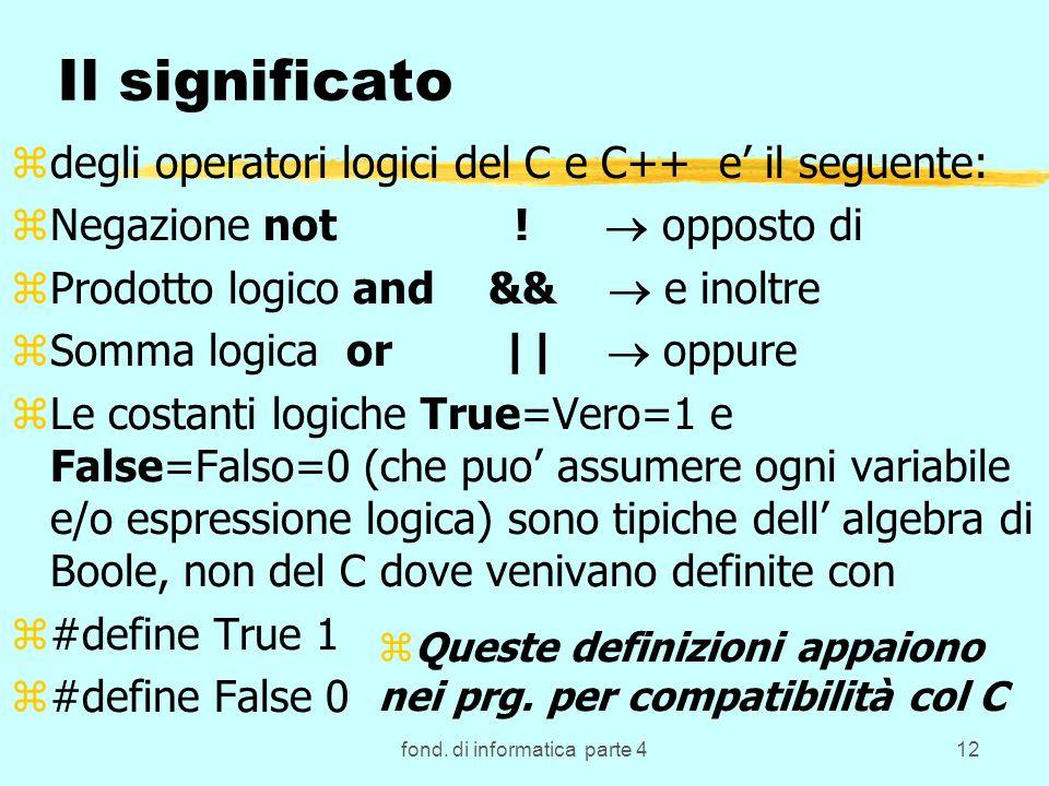 fond. di informatica parte 412 Il significato zdegli operatori logici del C e C++ e il seguente: zNegazione not ! opposto di zProdotto logico and && e