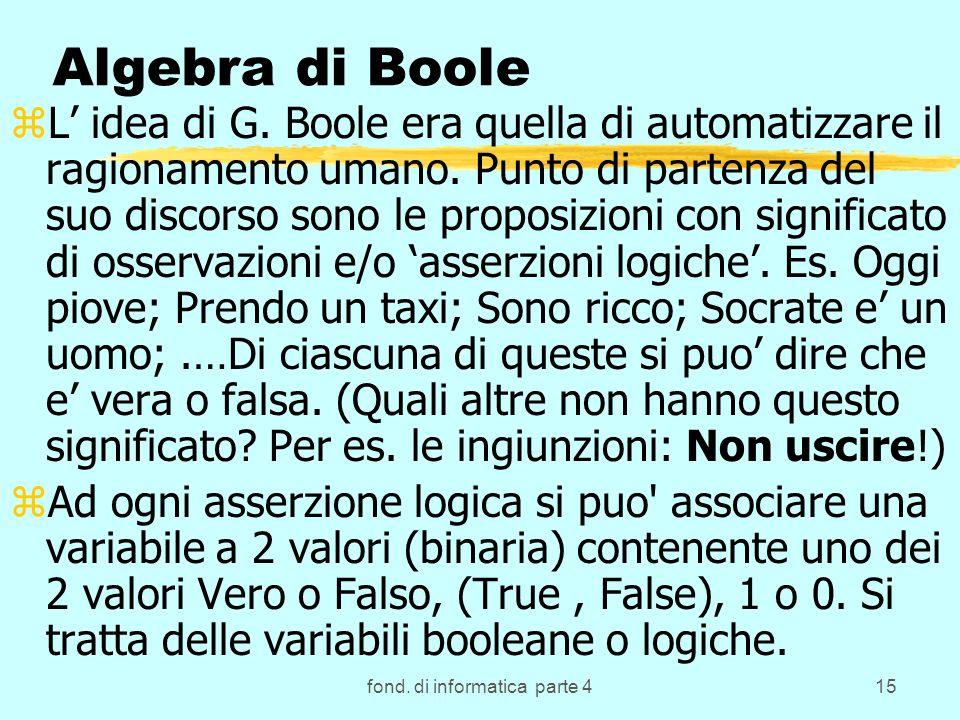 fond. di informatica parte 415 Algebra di Boole zL idea di G. Boole era quella di automatizzare il ragionamento umano. Punto di partenza del suo disco