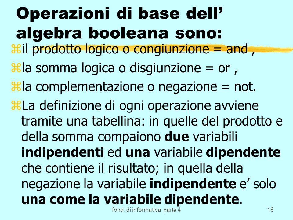 fond. di informatica parte 416 Operazioni di base dell algebra booleana sono: zil prodotto logico o congiunzione = and, zla somma logica o disgiunzion