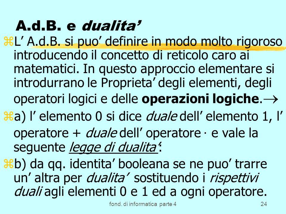 fond. di informatica parte 424 A.d.B. e dualita zL A.d.B. si puo definire in modo molto rigoroso introducendo il concetto di reticolo caro ai matemati
