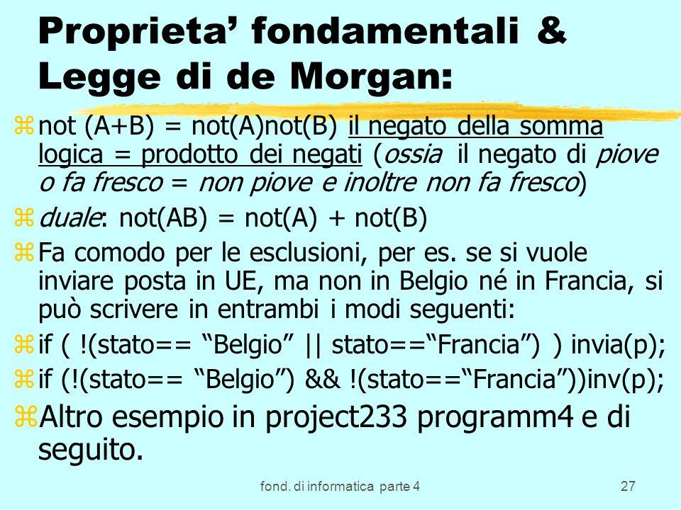 fond. di informatica parte 427 Proprieta fondamentali & Legge di de Morgan: znot (A+B) = not(A)not(B) il negato della somma logica = prodotto dei nega