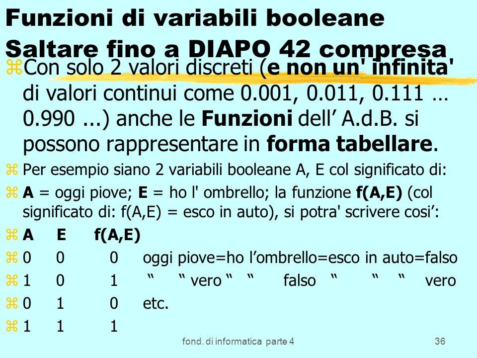 fond. di informatica parte 436 Funzioni di variabili booleane Saltare fino a DIAPO 42 compresa zCon solo 2 valori discreti (e non un' infinita' di val