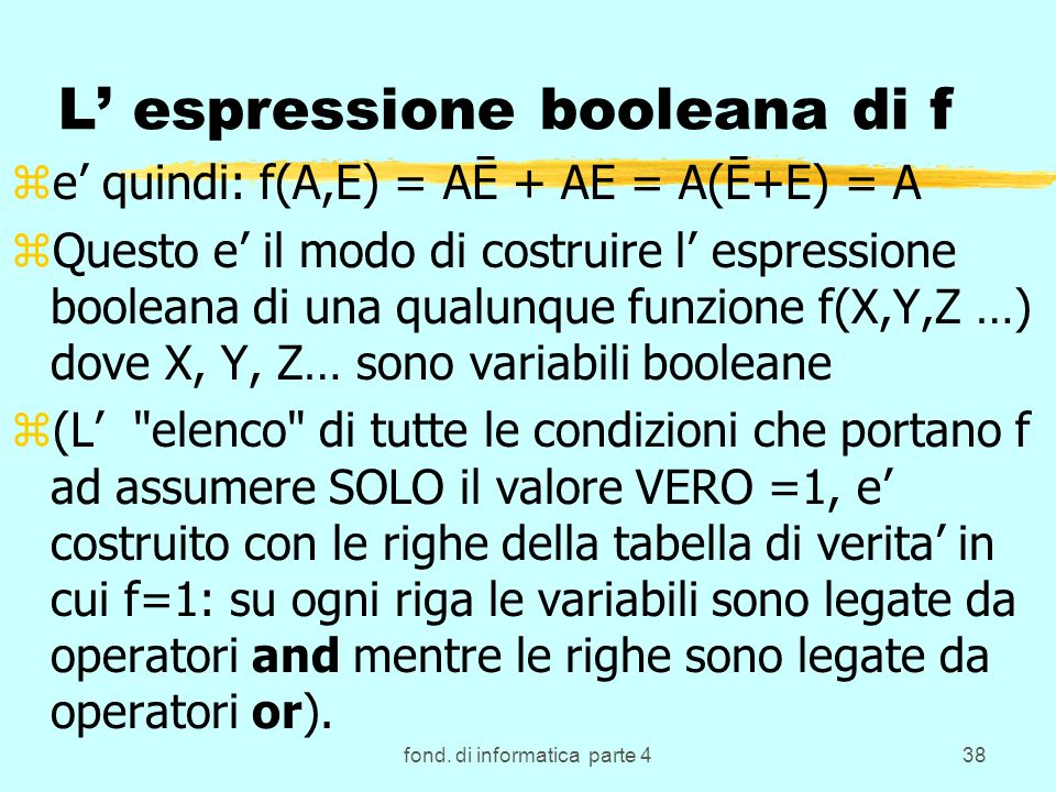 fond. di informatica parte 438 L espressione booleana di f ze quindi: f(A,E) = AĒ + AE = A(Ē+E) = A zQuesto e il modo di costruire l espressione boole