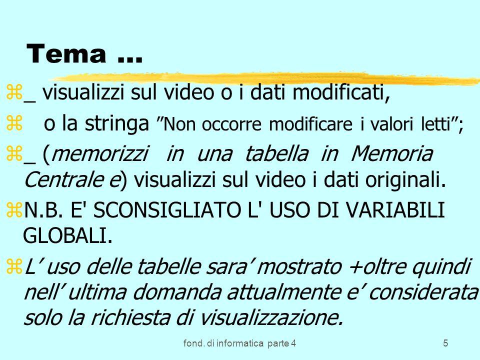 fond. di informatica parte 45 Tema... z_ visualizzi sul video o i dati modificati, z o la stringa Non occorre modificare i valori letti; z_ (memorizzi