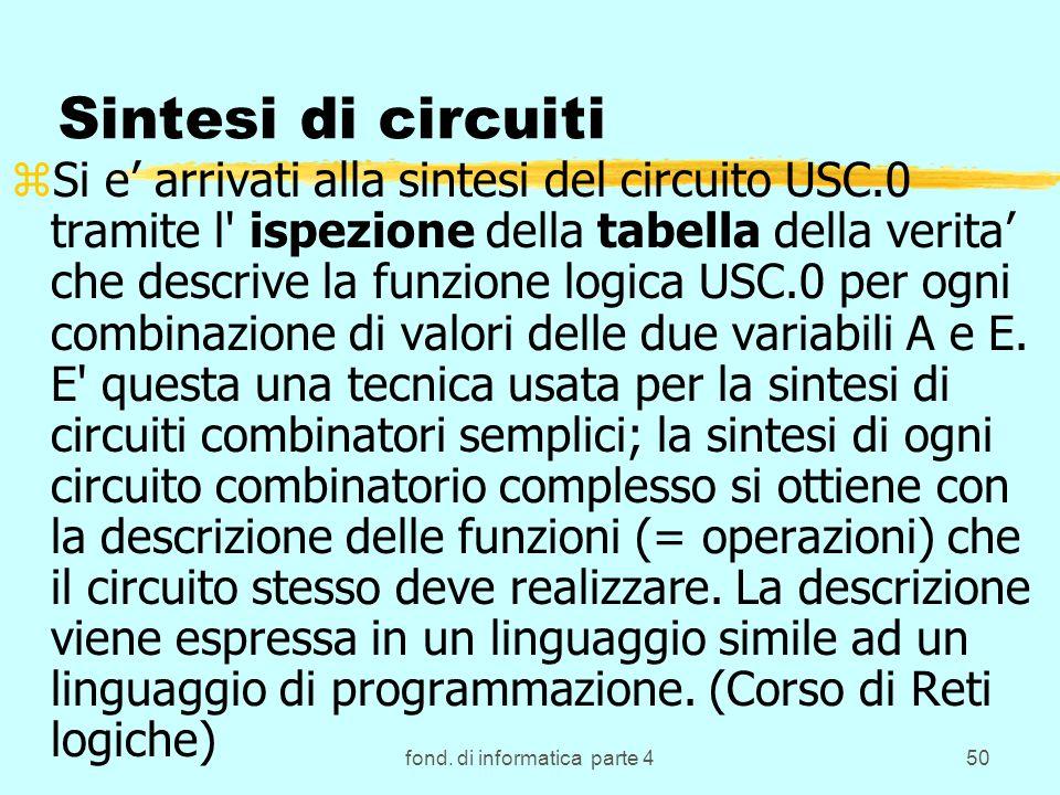 fond. di informatica parte 450 Sintesi di circuiti zSi e arrivati alla sintesi del circuito USC.0 tramite l' ispezione della tabella della verita che