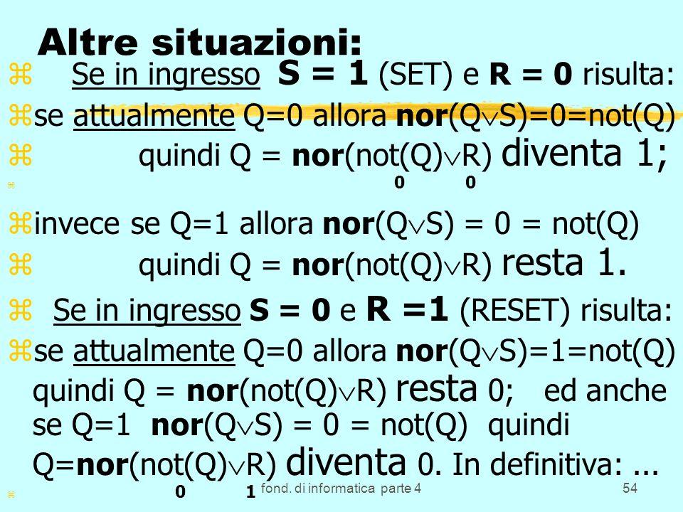 fond. di informatica parte 454 Altre situazioni: z Se in ingresso S = 1 (SET) e R = 0 risulta: zse attualmente Q=0 allora nor(Q S)=0=not(Q) z quindi Q
