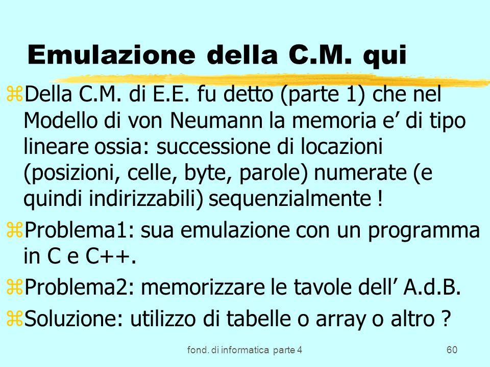 fond. di informatica parte 460 Emulazione della C.M. qui zDella C.M. di E.E. fu detto (parte 1) che nel Modello di von Neumann la memoria e di tipo li