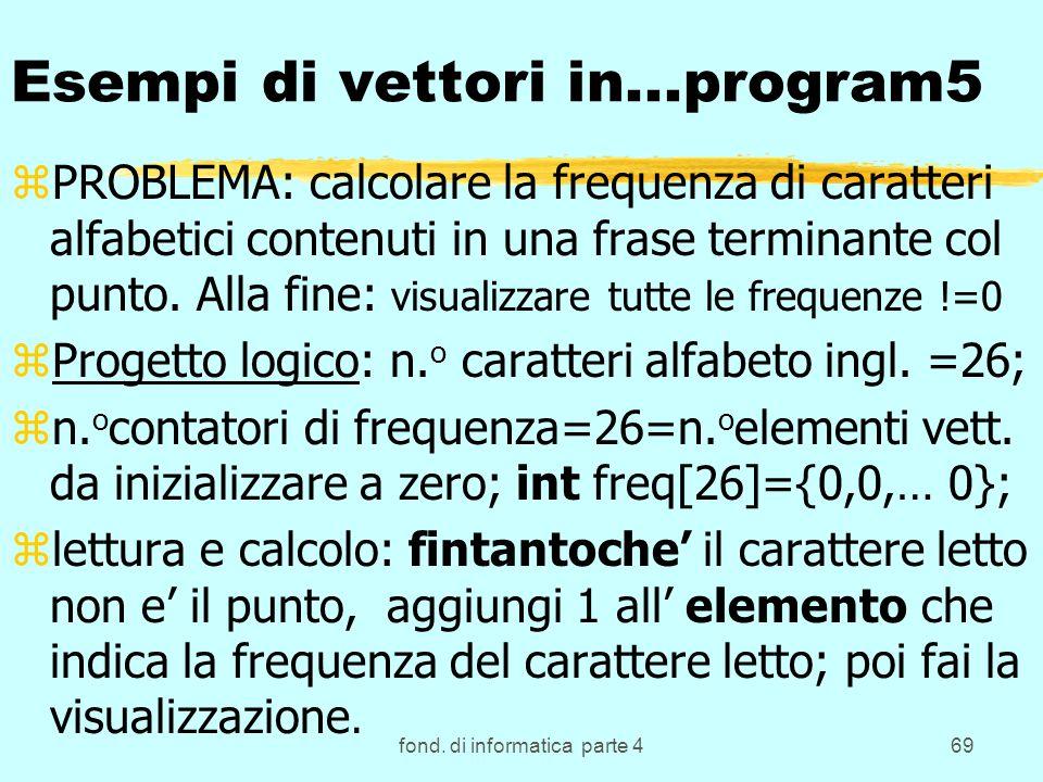 fond. di informatica parte 469 Esempi di vettori in...program5 zPROBLEMA: calcolare la frequenza di caratteri alfabetici contenuti in una frase termin