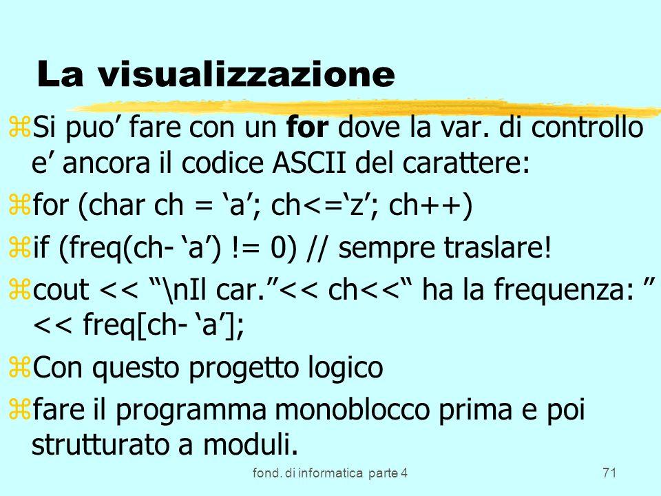 fond. di informatica parte 471 La visualizzazione zSi puo fare con un for dove la var. di controllo e ancora il codice ASCII del carattere: zfor (char