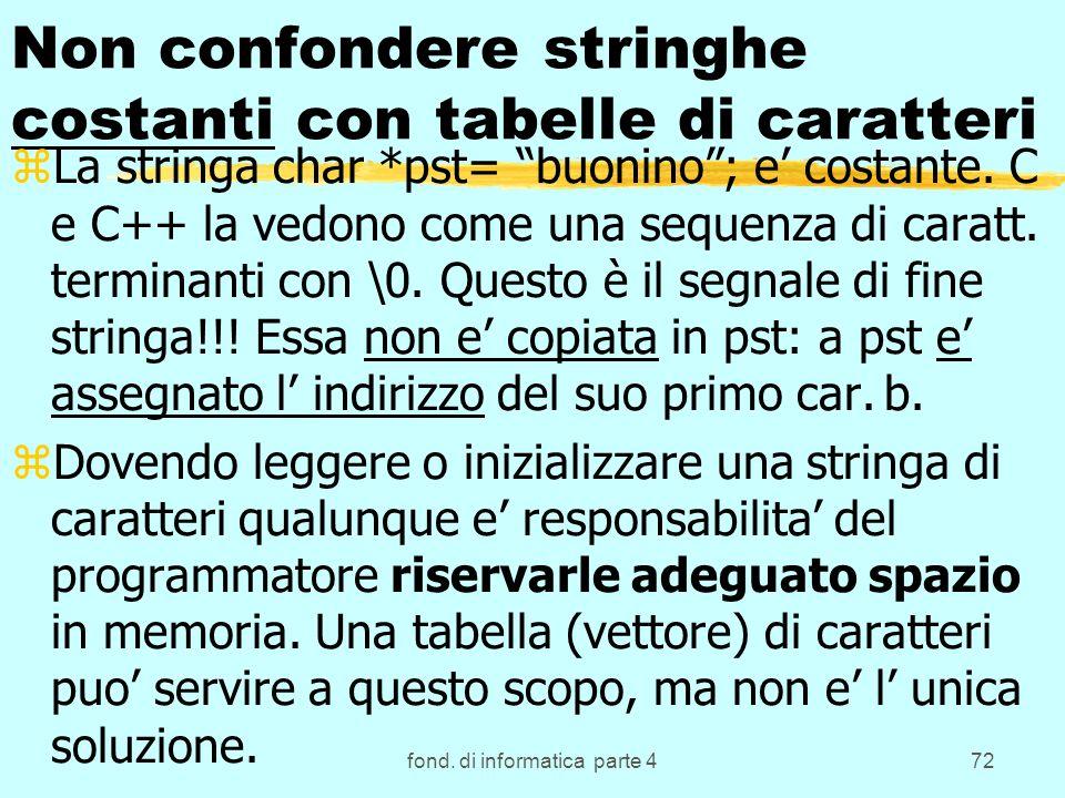 fond. di informatica parte 472 Non confondere stringhe costanti con tabelle di caratteri zLa stringa char *pst= buonino; e costante. C e C++ la vedono