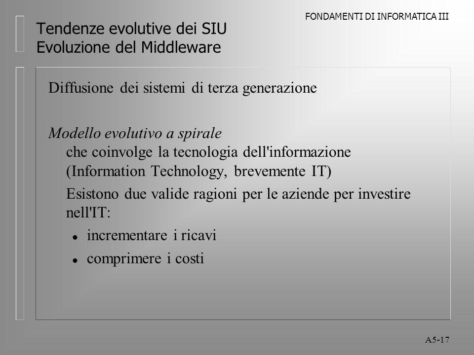 FONDAMENTI DI INFORMATICA III A5-17 Tendenze evolutive dei SIU Evoluzione del Middleware Diffusione dei sistemi di terza generazione Modello evolutivo a spirale che coinvolge la tecnologia dell informazione (Information Technology, brevemente IT) Esistono due valide ragioni per le aziende per investire nell IT: l incrementare i ricavi l comprimere i costi