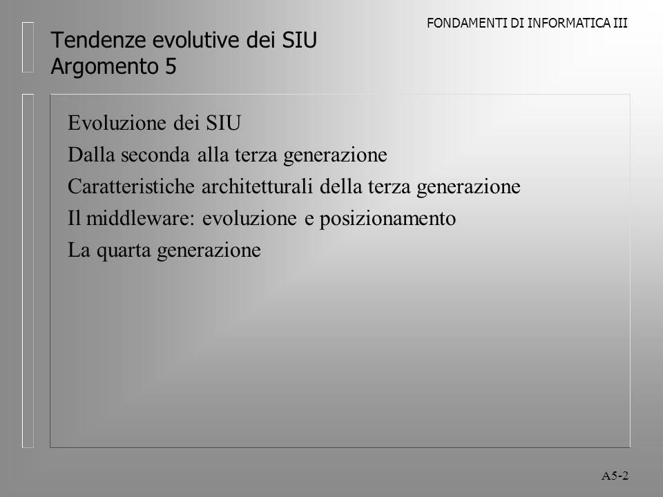 FONDAMENTI DI INFORMATICA III A5-2 Tendenze evolutive dei SIU Argomento 5 Evoluzione dei SIU Dalla seconda alla terza generazione Caratteristiche architetturali della terza generazione Il middleware: evoluzione e posizionamento La quarta generazione