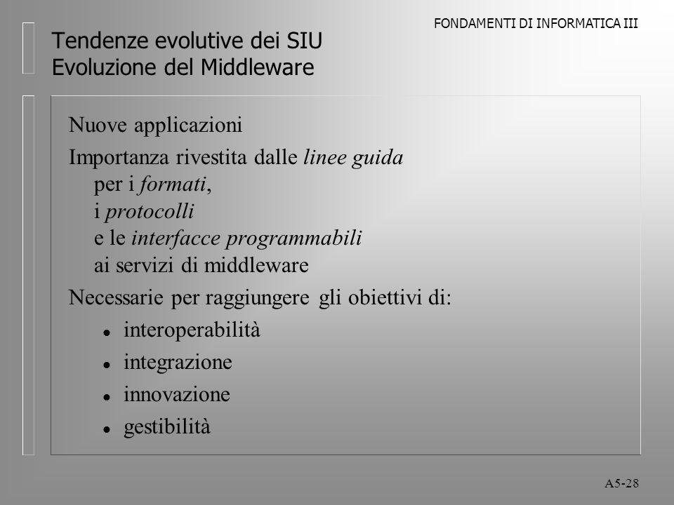 FONDAMENTI DI INFORMATICA III A5-28 Tendenze evolutive dei SIU Evoluzione del Middleware Nuove applicazioni Importanza rivestita dalle linee guida per i formati, i protocolli e le interfacce programmabili ai servizi di middleware Necessarie per raggiungere gli obiettivi di: l interoperabilità l integrazione l innovazione l gestibilità