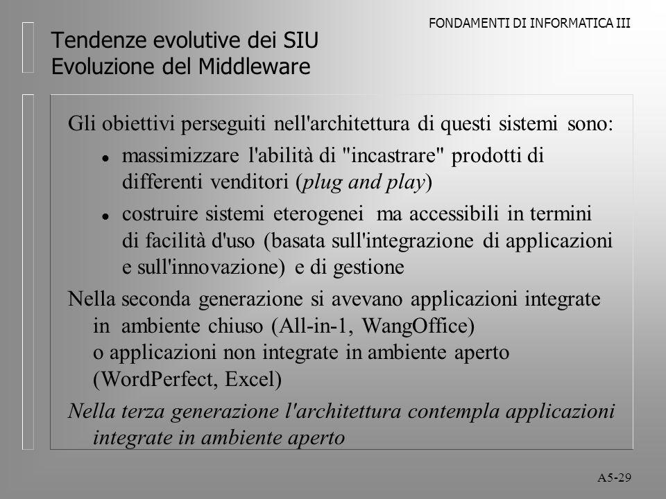 FONDAMENTI DI INFORMATICA III A5-29 Tendenze evolutive dei SIU Evoluzione del Middleware Gli obiettivi perseguiti nell architettura di questi sistemi sono: l massimizzare l abilità di incastrare prodotti di differenti venditori (plug and play) l costruire sistemi eterogenei ma accessibili in termini di facilità d uso (basata sull integrazione di applicazioni e sull innovazione) e di gestione Nella seconda generazione si avevano applicazioni integrate in ambiente chiuso (All-in-1, WangOffice) o applicazioni non integrate in ambiente aperto (WordPerfect, Excel) Nella terza generazione l architettura contempla applicazioni integrate in ambiente aperto