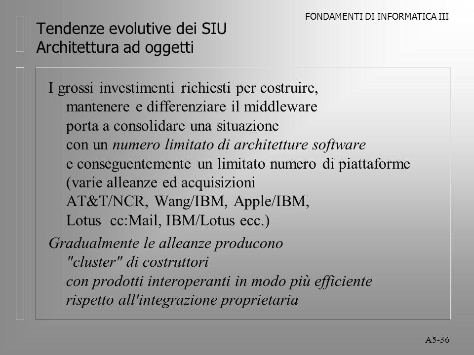 FONDAMENTI DI INFORMATICA III A5-36 Tendenze evolutive dei SIU Architettura ad oggetti I grossi investimenti richiesti per costruire, mantenere e differenziare il middleware porta a consolidare una situazione con un numero limitato di architetture software e conseguentemente un limitato numero di piattaforme (varie alleanze ed acquisizioni AT&T/NCR, Wang/IBM, Apple/IBM, Lotus cc:Mail, IBM/Lotus ecc.) Gradualmente le alleanze producono cluster di costruttori con prodotti interoperanti in modo più efficiente rispetto all integrazione proprietaria