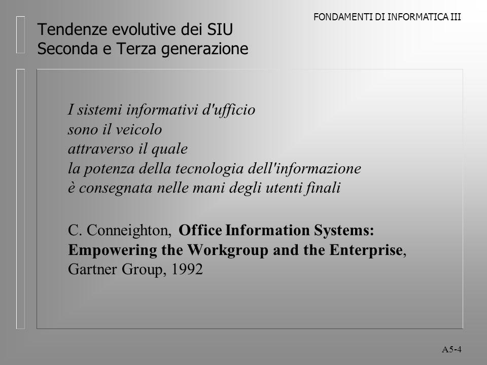 FONDAMENTI DI INFORMATICA III A5-4 Tendenze evolutive dei SIU Seconda e Terza generazione I sistemi informativi d ufficio sono il veicolo attraverso il quale la potenza della tecnologia dell informazione è consegnata nelle mani degli utenti finali C.
