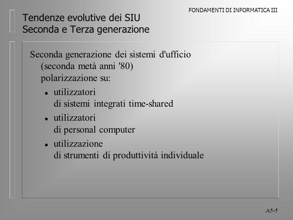 FONDAMENTI DI INFORMATICA III A5-5 Tendenze evolutive dei SIU Seconda e Terza generazione Seconda generazione dei sistemi d ufficio (seconda metà anni 80) polarizzazione su: l utilizzatori di sistemi integrati time-shared l utilizzatori di personal computer l utilizzazione di strumenti di produttività individuale