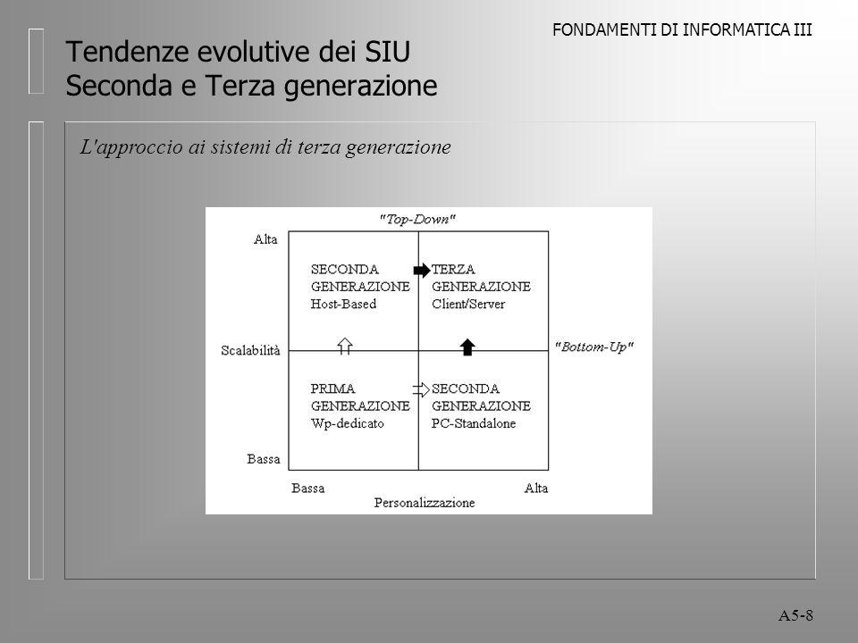 FONDAMENTI DI INFORMATICA III A5-8 Tendenze evolutive dei SIU Seconda e Terza generazione L approccio ai sistemi di terza generazione