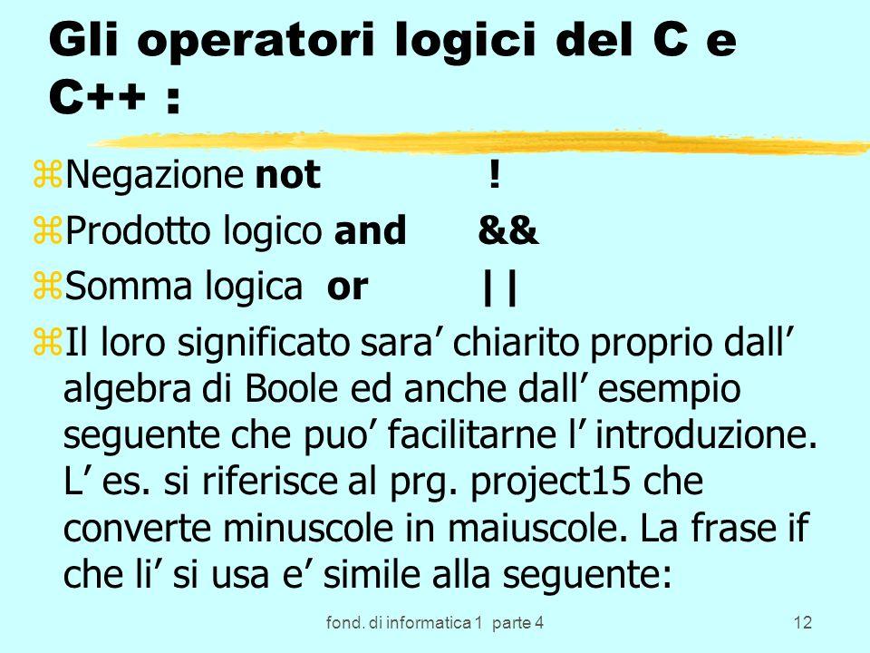 fond. di informatica 1 parte 412 Gli operatori logici del C e C++ : zNegazione not .