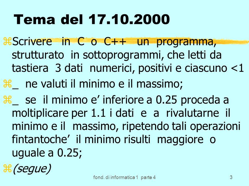 64 Array zE un tipo di variabile composta, strutturata zImportante perche permette di: zmantenere in memoria un insieme di elementi omogenei (dello stesso tipo, detto tipo base); ztutti presenti contemporaneamente, posti in memoria consecutivamente a partire da un indirizzo iniziale, ma accessibili in modo casuale o diretto usando la loro posizione; zaccessibili +volte tramite appositi indici interi che in C e C++ assumono uno tra i valori compresi in un dato intervallo a partire da 0 (a cui corrisponde il primo elemento dell array); zRichiede un opportuna definizione in cui sia dichiarata al compilatore la sua dimensione.