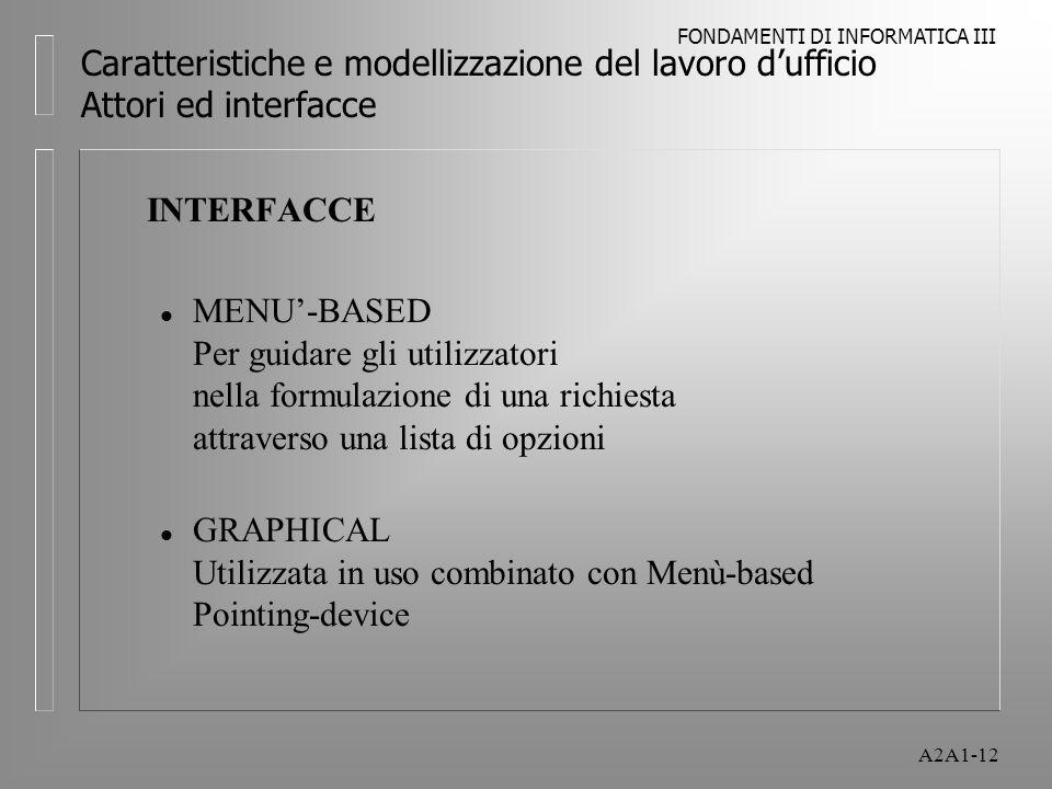 FONDAMENTI DI INFORMATICA III A2A1-12 Caratteristiche e modellizzazione del lavoro dufficio Attori ed interfacce INTERFACCE l MENU-BASED Per guidare gli utilizzatori nella formulazione di una richiesta attraverso una lista di opzioni l GRAPHICAL Utilizzata in uso combinato con Menù-based Pointing-device