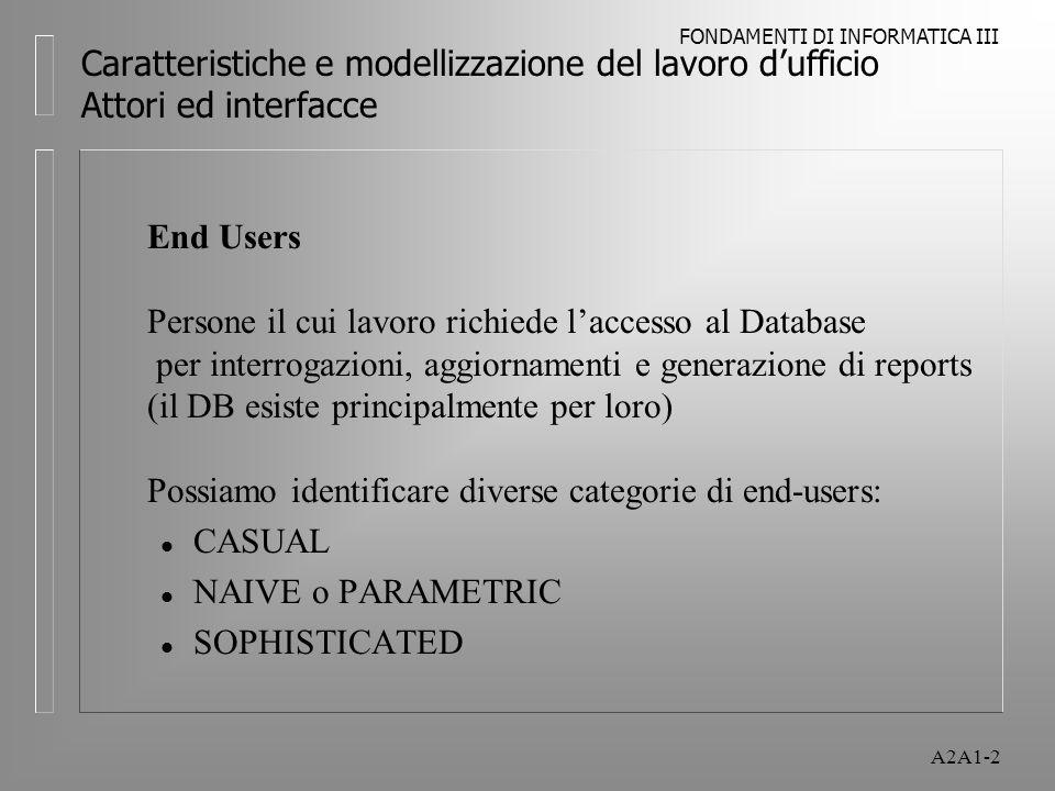 FONDAMENTI DI INFORMATICA III A2A1-2 Caratteristiche e modellizzazione del lavoro dufficio Attori ed interfacce End Users Persone il cui lavoro richie