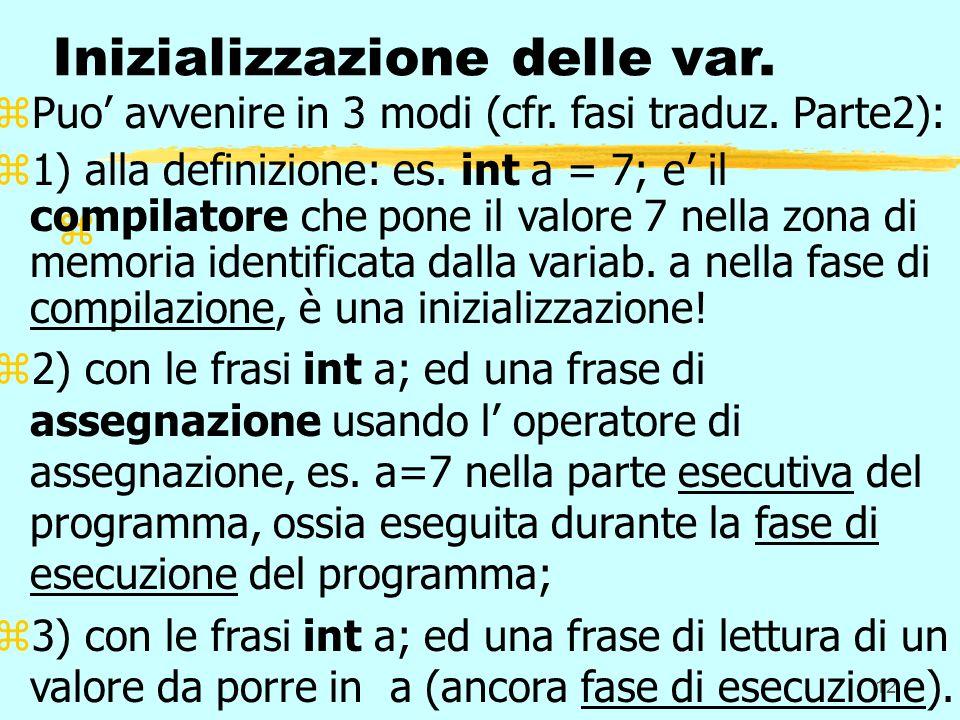 12 z Inizializzazione delle var. zPuo avvenire in 3 modi (cfr. fasi traduz. Parte2): z1) alla definizione: es. int a = 7; e il compilatore che pone il