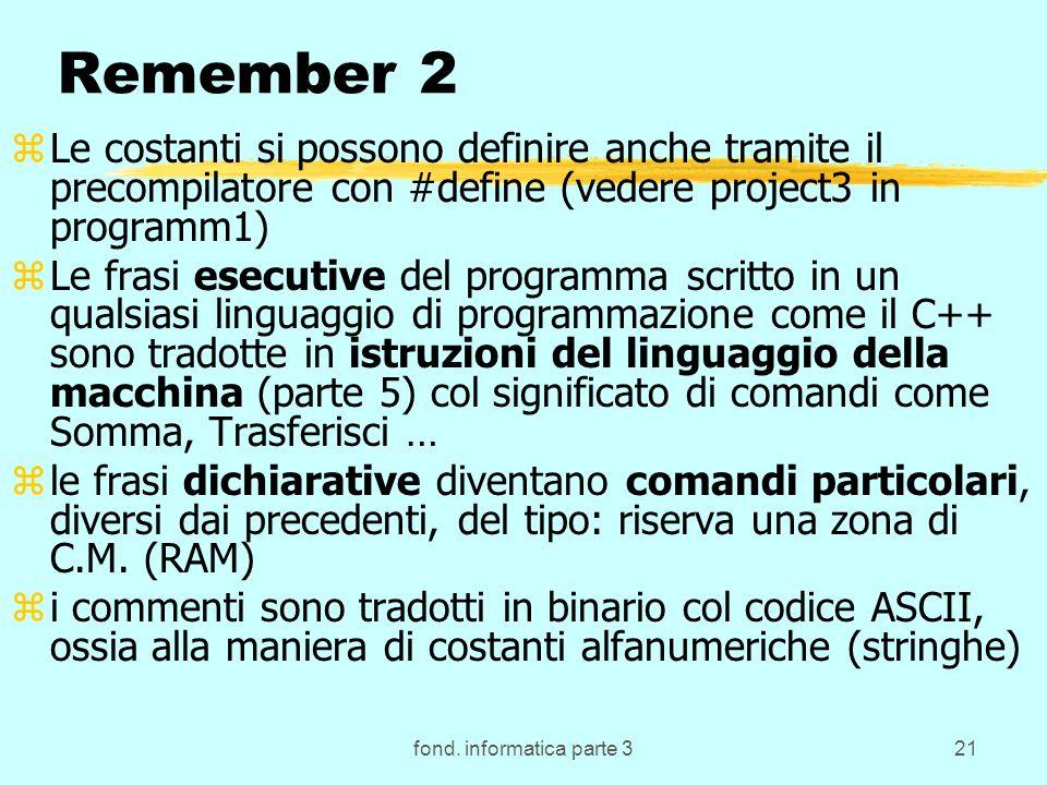 fond. informatica parte 321 Remember 2 zLe costanti si possono definire anche tramite il precompilatore con #define (vedere project3 in programm1) zLe