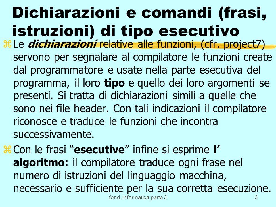 fond. informatica parte 33 Dichiarazioni e comandi (frasi, istruzioni) di tipo esecutivo zLe dichiarazioni relative alle funzioni, (cfr. project7) ser