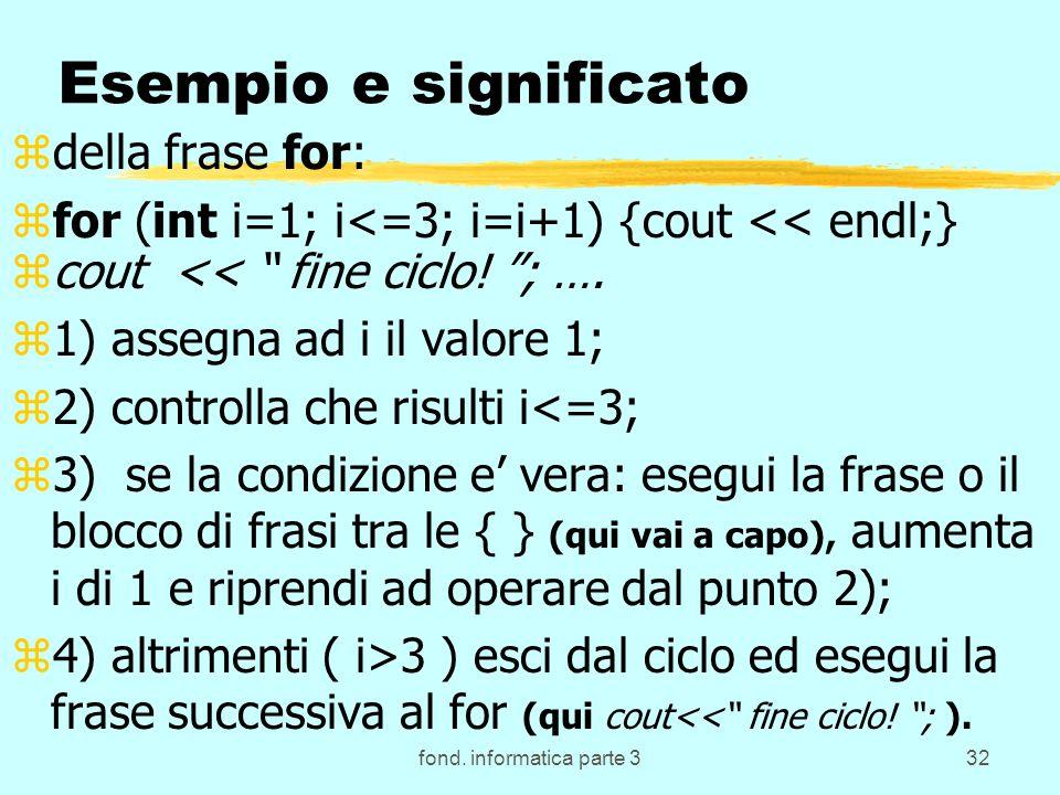 fond. informatica parte 332 Esempio e significato zdella frase for: zfor (int i=1; i<=3; i=i+1) {cout << endl;} zcout << fine ciclo! ; …. z1) assegna
