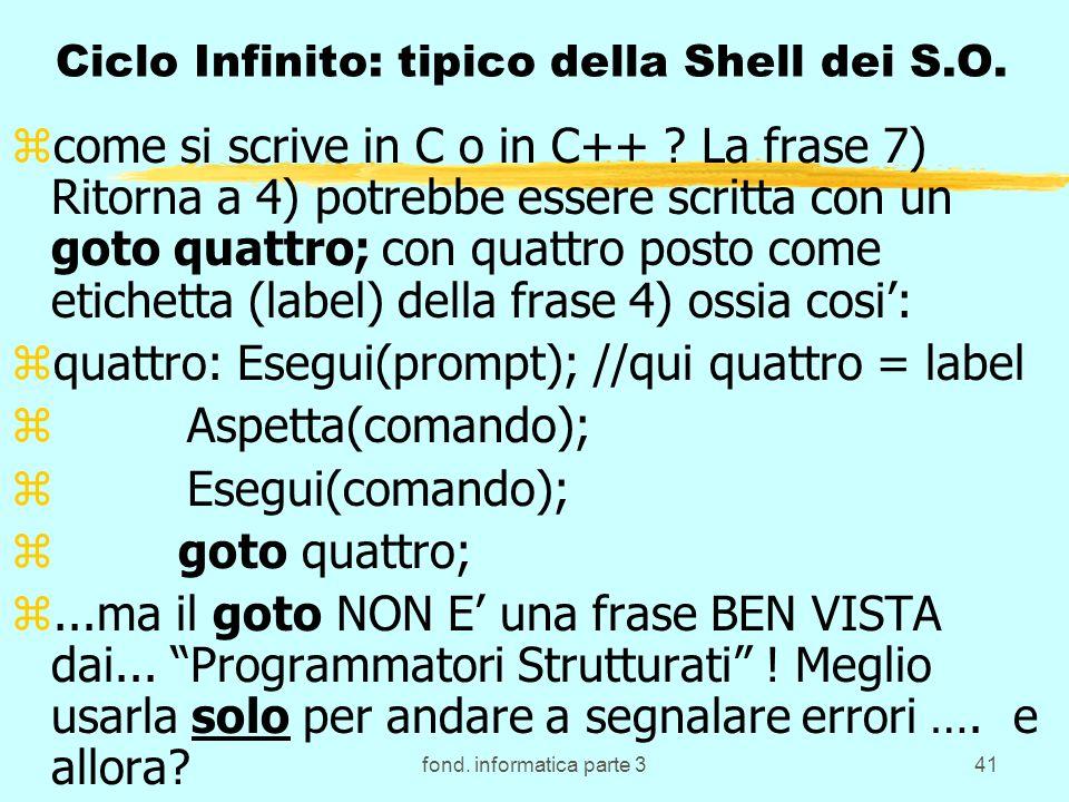 fond. informatica parte 341 Ciclo Infinito: tipico della Shell dei S.O. zcome si scrive in C o in C++ ? La frase 7) Ritorna a 4) potrebbe essere scrit