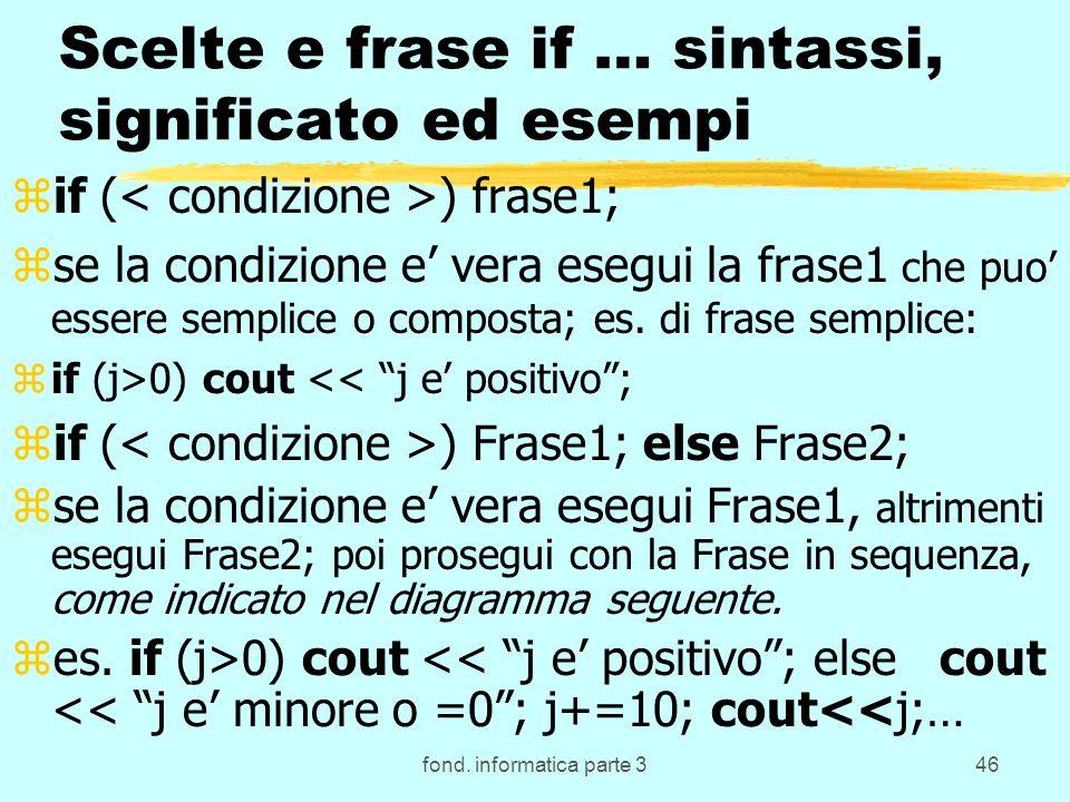 fond. informatica parte 346 Scelte e frase if … sintassi, significato ed esempi zif ( ) frase1; zse la condizione e vera esegui la frase1 che puo esse