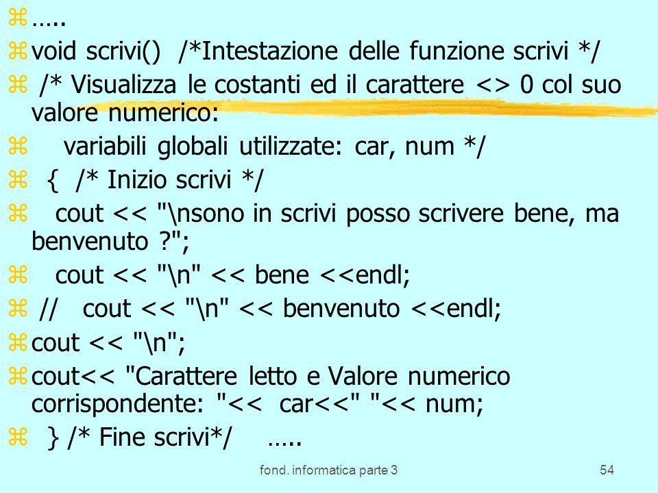 fond. informatica parte 354 z….. zvoid scrivi() /*Intestazione delle funzione scrivi */ z /* Visualizza le costanti ed il carattere <> 0 col suo valor