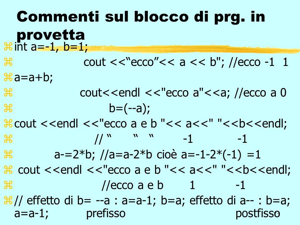 71 Commenti sul blocco di prg. in provetta zint a=-1, b=1; z cout <<ecco<< a << b
