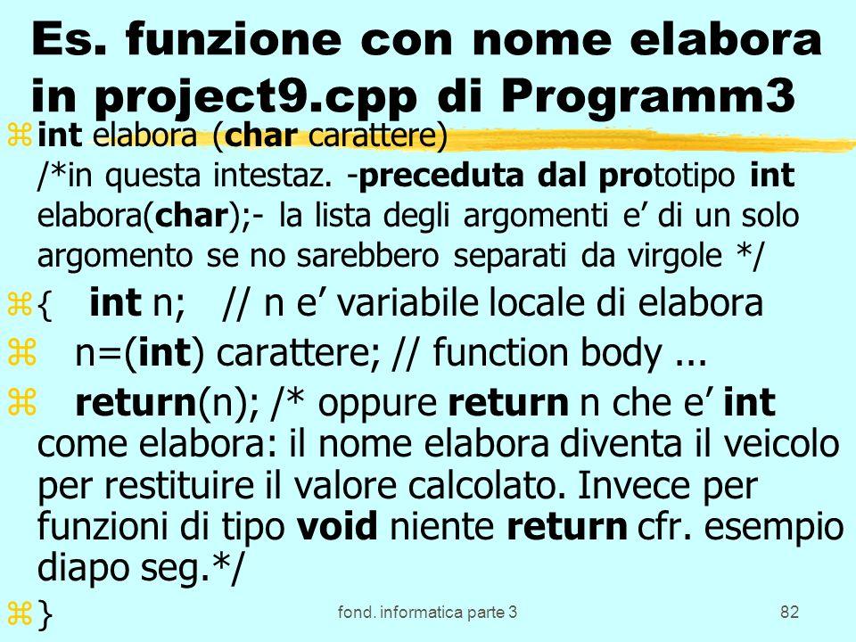 fond. informatica parte 382 Es. funzione con nome elabora in project9.cpp di Programm3 zint elabora (char carattere) /*in questa intestaz. -preceduta