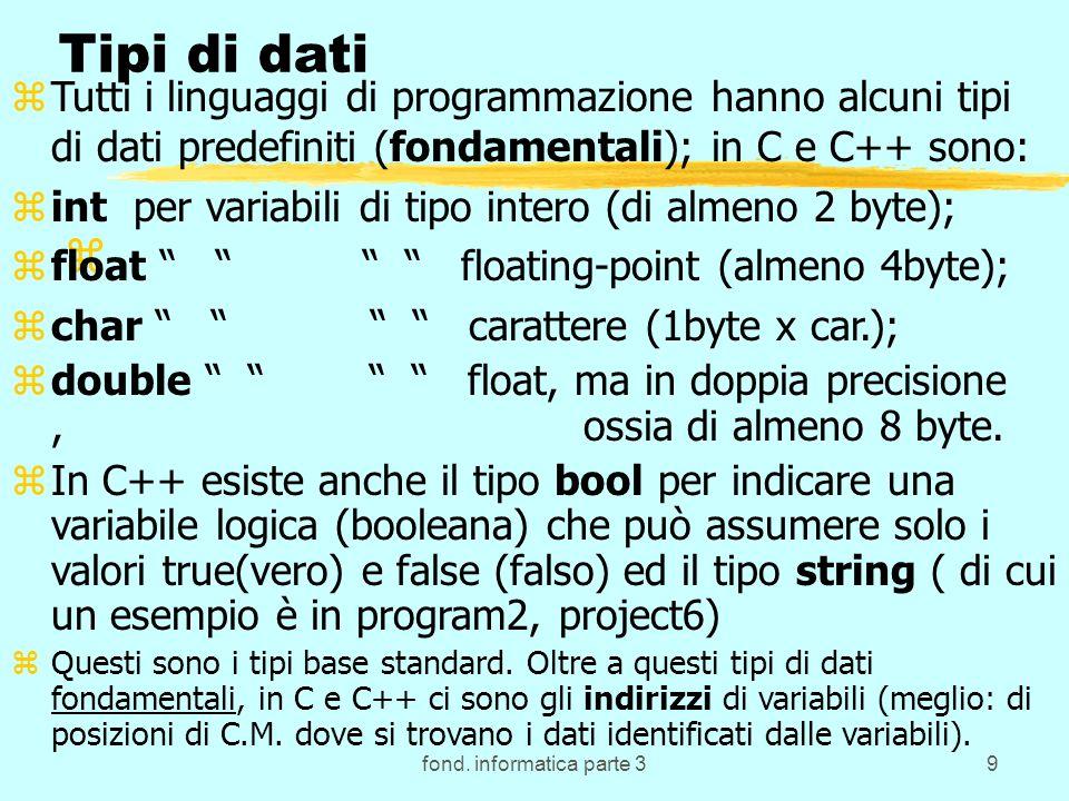 fond. informatica parte 39 z Tipi di dati zTutti i linguaggi di programmazione hanno alcuni tipi di dati predefiniti (fondamentali); in C e C++ sono: