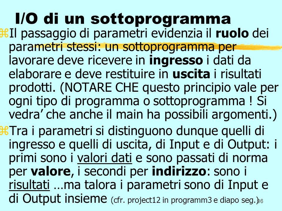 96 I/O di un sottoprogramma zIl passaggio di parametri evidenzia il ruolo dei parametri stessi: un sottoprogramma per lavorare deve ricevere in ingres