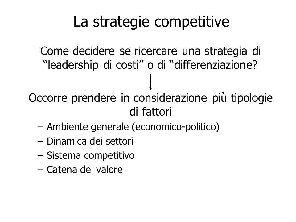 La strategie competitive Come decidere se ricercare una strategia di leadership di costi o di differenziazione? Occorre prendere in considerazione più